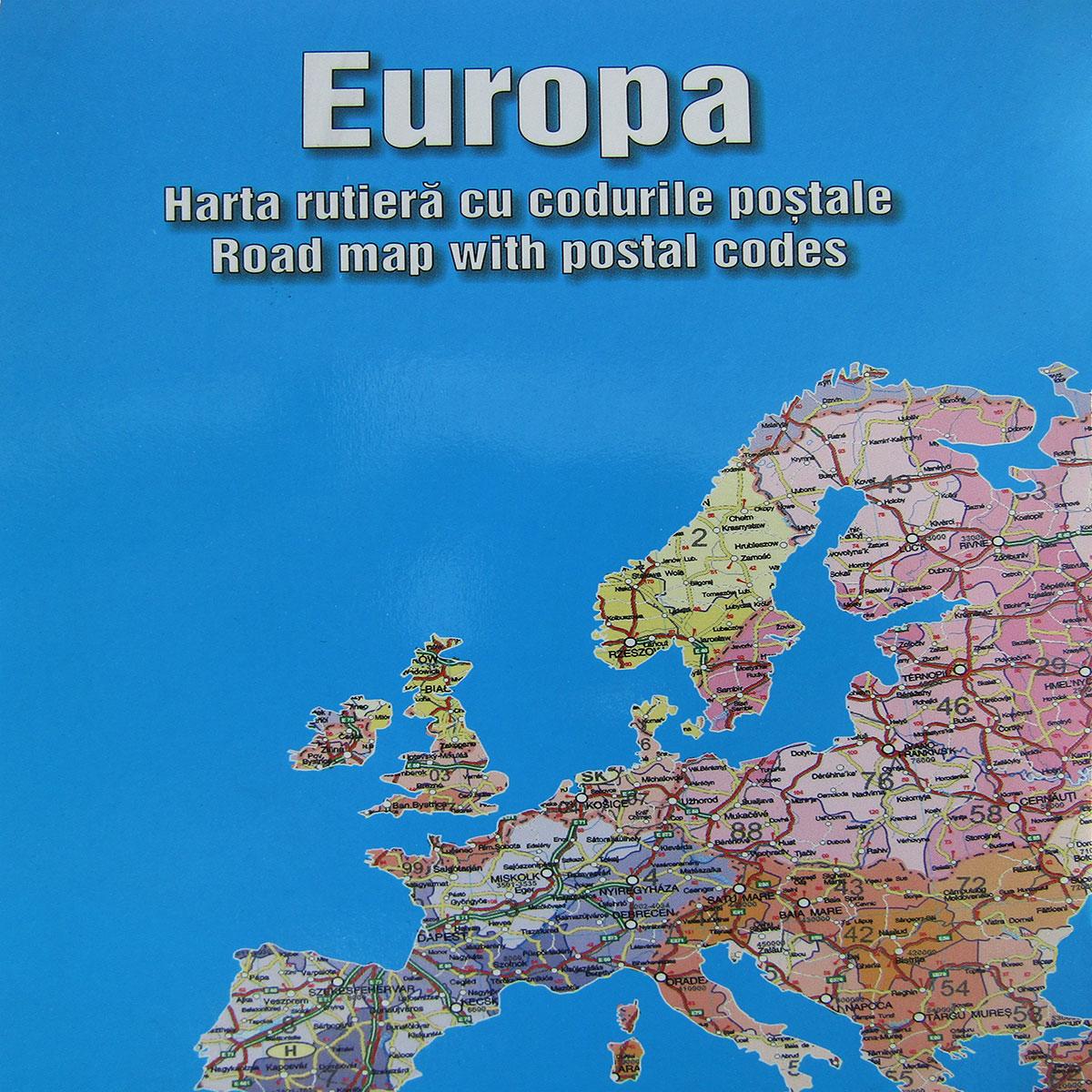 Harta pliata Europa cu coduri postale