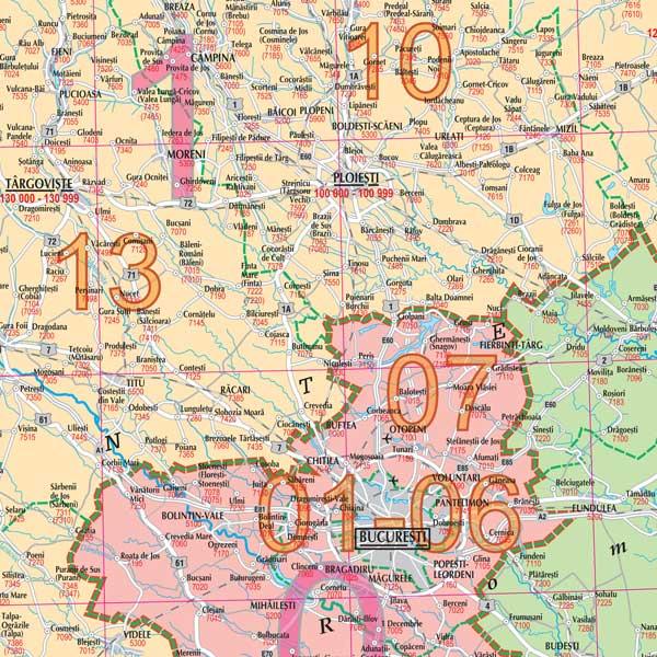 Hartă Perete Romania Cu Coduri Poștale Transmag